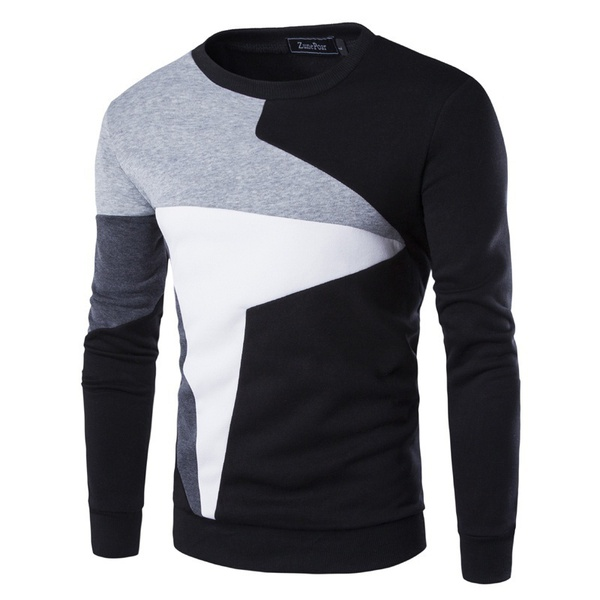 ZOGAA Spring New Men's Casual Long-sleeved Wind Hit The Color Stitching Hedging Sweater Plus Size XXS-4XL