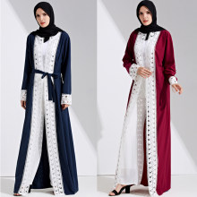 Plus Size 2019 Abaya Kimono Dubai Women Long Lace Patchwork Bandage Maxi Muslim Cardigan Hijab Dress Turkish Islamic Clothing(China)