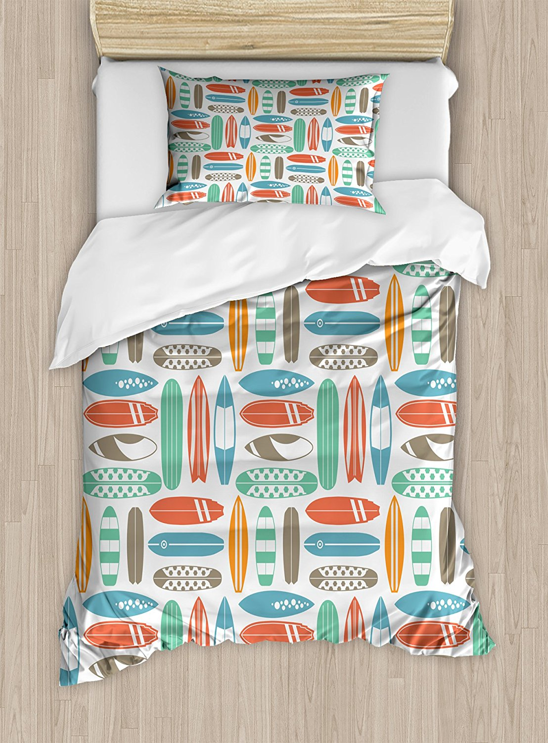 Surfboard Duvet Cover Set Colorful Surfing Sea Pattern With Summer Travel Ilration In Retro Colors 4 Piece Bedding Sets From Home