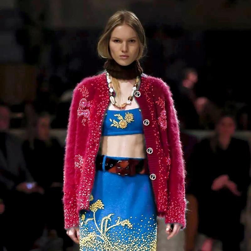 Femmes Femelle Manches Cardigans Chandail 2018 Qualité Hiver Tricoté Broderie Jumper Vêtements Rose Longues À Automne Haute Piste Floral oBCrdxe