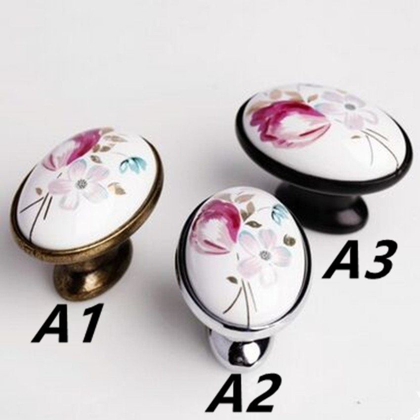 Fashion rural ceramic furniture knobs bronze drawer cabinet knobs black silver dresser cupboard door pull vintage modern handles