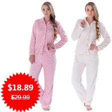 Women Autumn Winter Warm Coral Fleece Big Size Pink Dot Sleepwear Pajama Suit Nightwear 2 Pieces Pyjama Set For Ladies 07