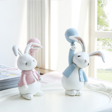 2pcs Cute Home Decoration Couple Rabbit Model Ornaments Lovely Resin Animal Crafts Desktop Kids Friends Gifts