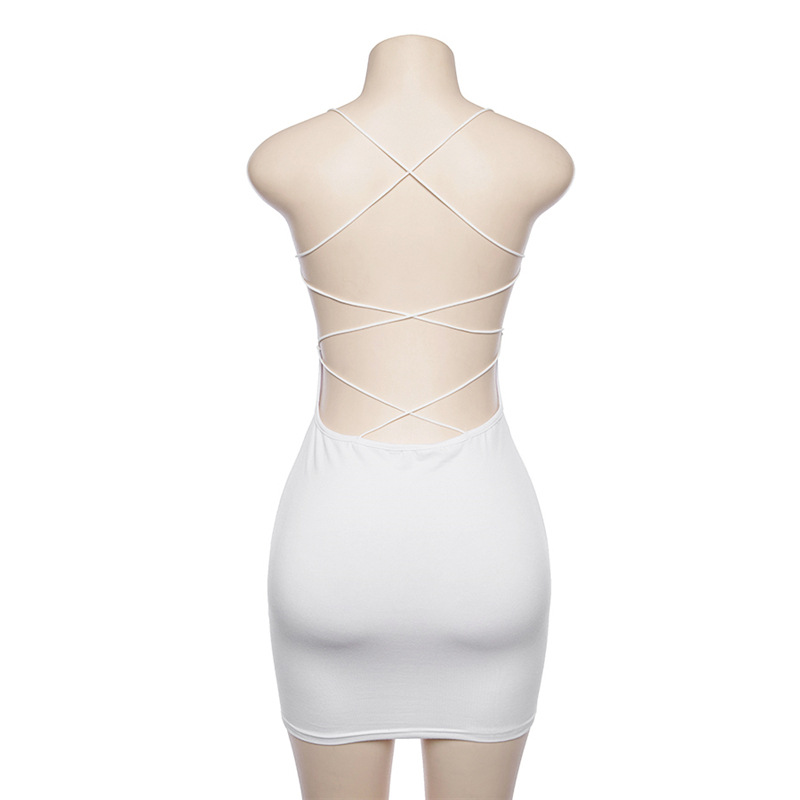 c7f2ccf3cb 2018 Summer Dress Backless Mini Party dresses Sexy Short Dresses White  Black Beachwear lace up bodycorn dress sundress robe ete