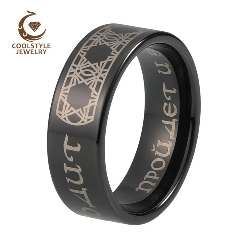 Tungsten Carbide Flat Black Ring