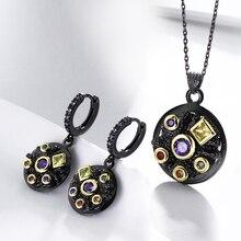 Round Vintage Multi Black Stones 2PCS jewellery Set Necklace Pendant Earrings Jewelry Sets For women round pendant chain necklace set 2pcs