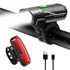 Bike Lights Set USB Rechargeable, Super Bright 350 Lumen Front Bike Light & 120 Lumen Rear Bike Light, Waterproof LED Mountain