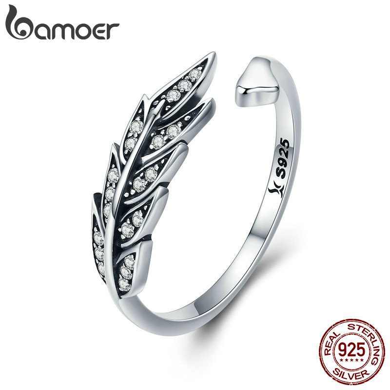 BAMOER Hot Sale Authentic 925 Sterling Silver Feather Wings Adjustable Finger Ring for Women Sterling Silver Jewelry Gift SCR313 silver wings silver wings 31mc0198 38 44