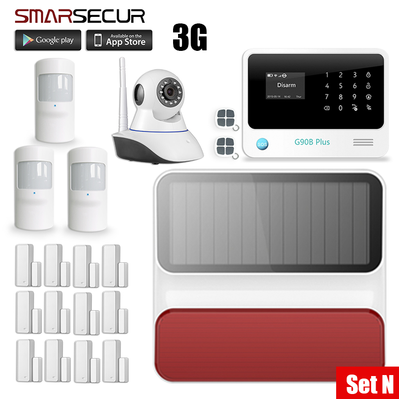 Smarsecur G90B Plus WiFi GPRS Wireless Home GSM Security Alarm System Kit  APP Control IP Camera Alarm Systems Security Home