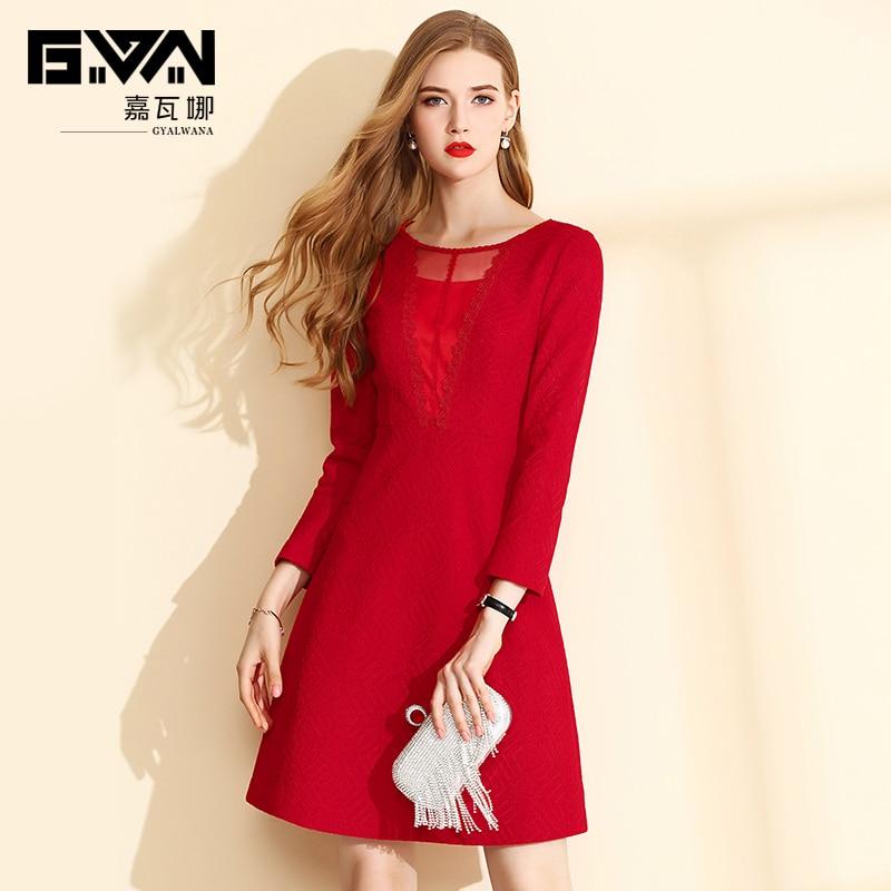 d08ac3278aa4 E Manica Rosso Elegante O Vestiti Autunno Pizzo Delle Pettinato Lunga  Jacquard Signore Tessuto Inverno Da Linea collo Abito ...