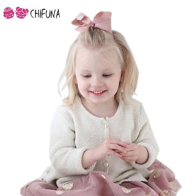 Primavera Otoño 2016 Bebé Suéteres de Las Muchachas 2016 Niños Princesa Capa Cardigan de Punto Lindo de Manga Larga Niños Prendas de Abrigo Marca