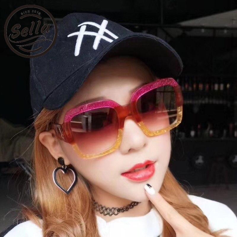 Sella New Fashion Women Classic Oversized Square Double Hit Color Sunglasses Wear Brand Designer Pearl Effect Glasses Eyewear