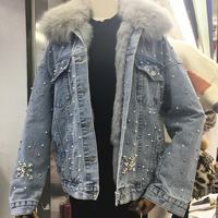 2019 новая джинсовая куртка с заклепками и бусинами, пальто для женщин, Воротник из натурального Лисьего меха, подкладка из натурального крол