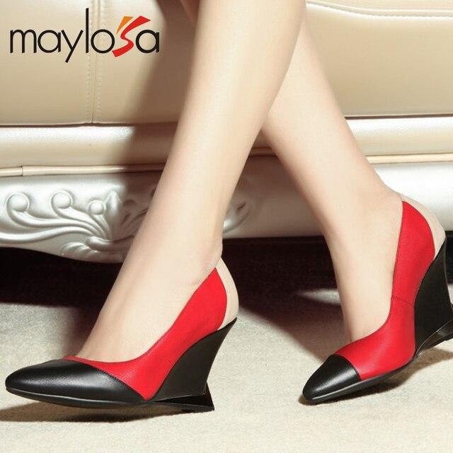 2015 marca de moda de Cuero Genuino dedo del pie acentuado colores mezclados plataformas mujeres bombas moda sexy de alta calidad de las mujeres zapatos de fiesta
