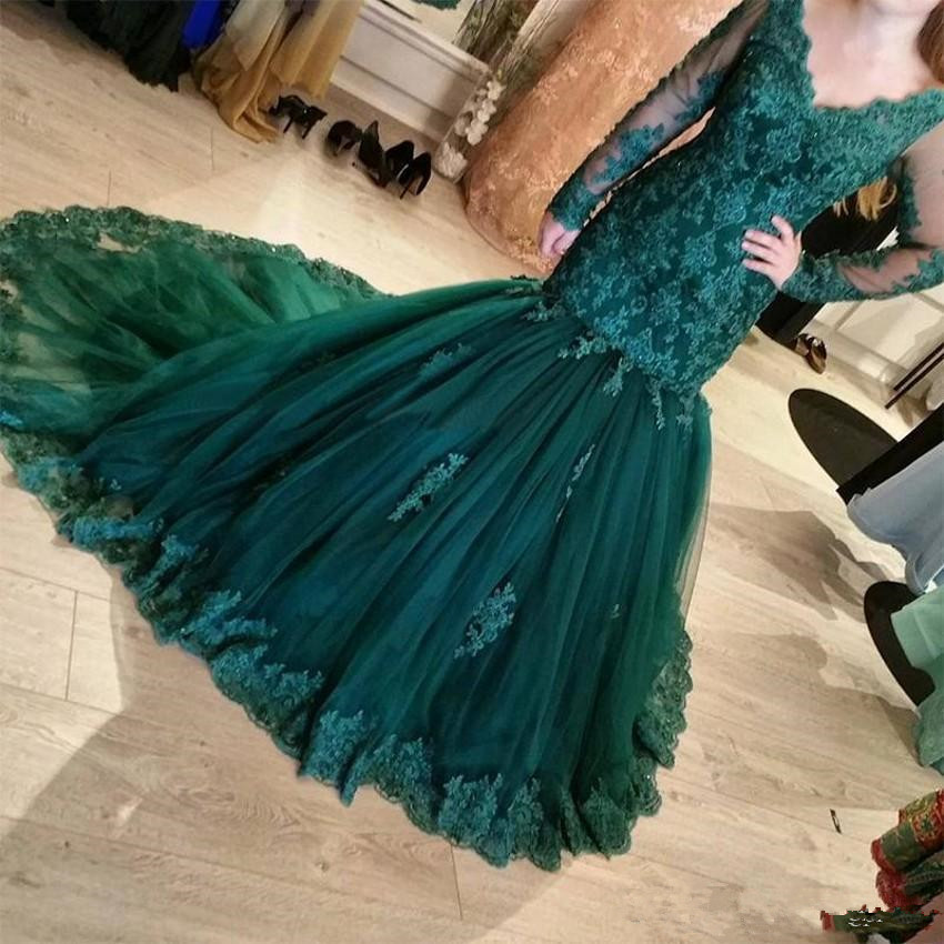 Dark Green 2018 Lace Mermaid   Evening     Dresses   V Neck Court Train Tulle Long Illusion Sleeves   Dresses   Lace Applique Party Gowns