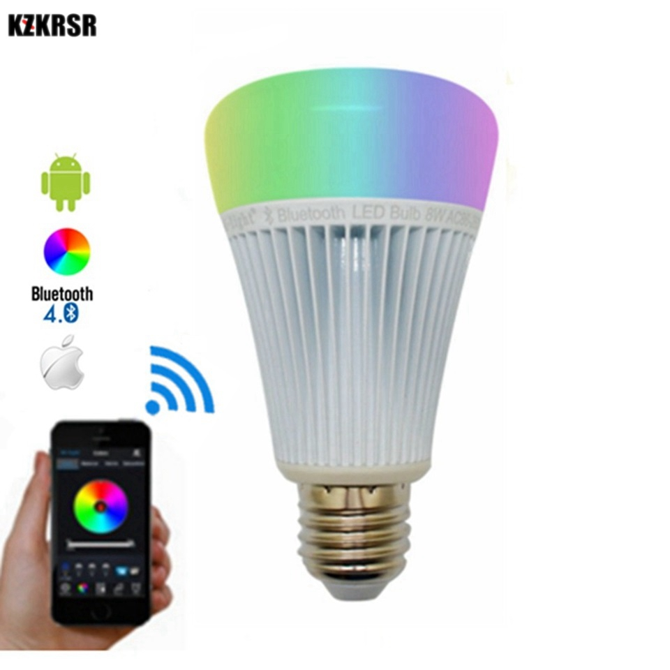 Mi Light Bluetooth 4.0 Smart lamp Bulb 8W E27 AC86-265V Full Color RGBCCT Lampada Smartphone Control Work on IOS Android APP smart bulb e27 led rgb light wireless music led lamp bluetooth color changing bulb app control android ios smartphone