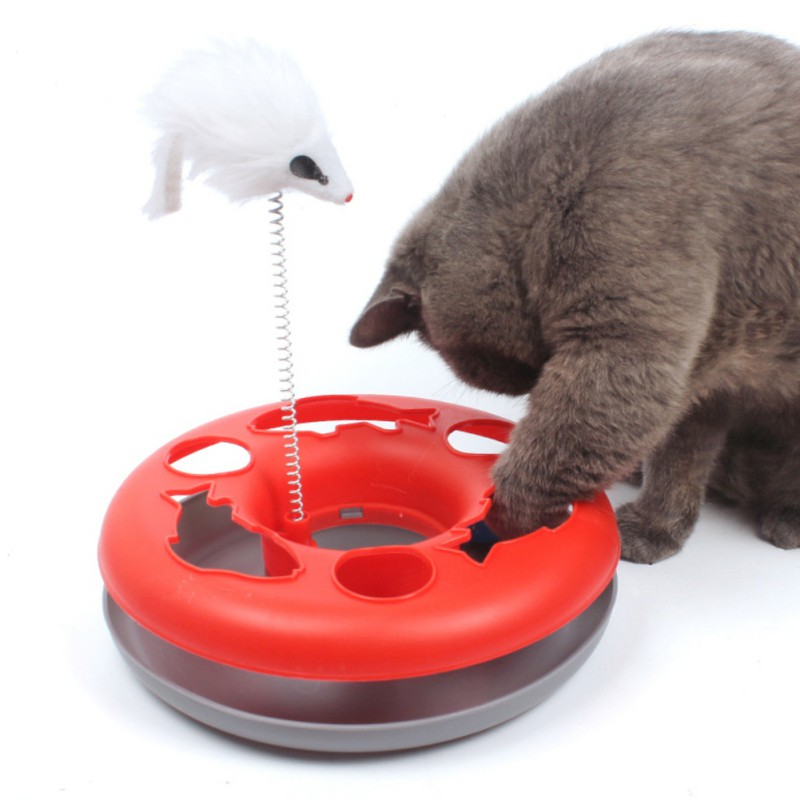 Toys For Cats Colo Colo Interactive Cat Training Toy Games For Cats Mouse Goods Single Layer Plate Turntable Cat Supplies 15%