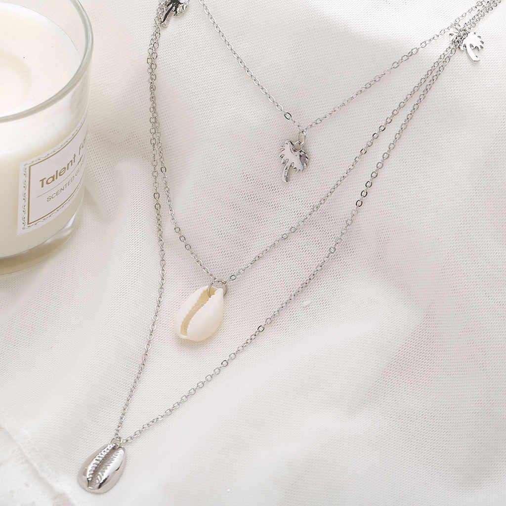 Einfache Mehrschichtige Perlen Shell Coconut Baum Metall Halskette Damen Schmuck collier coquillage naszyjnik muszelki Großhandel # PY25