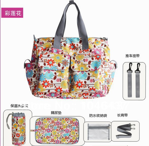 6pcs/set New arrival 10colors Baby Diaper Bags Designer Maternity Nappy Bags Mummy Baby Stroller Bags free shiipping