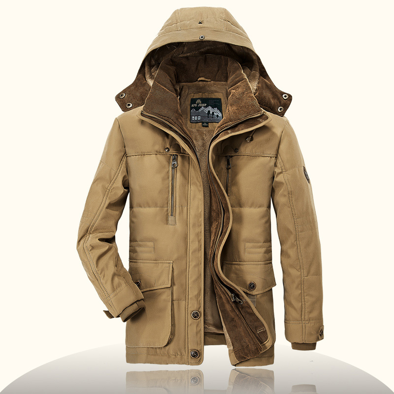 AFS JEEP High Quality Thickening Brand Winter Coat Military Cotton Padded Jacket Men New Fashion Warm Fleece With Fur Parka men