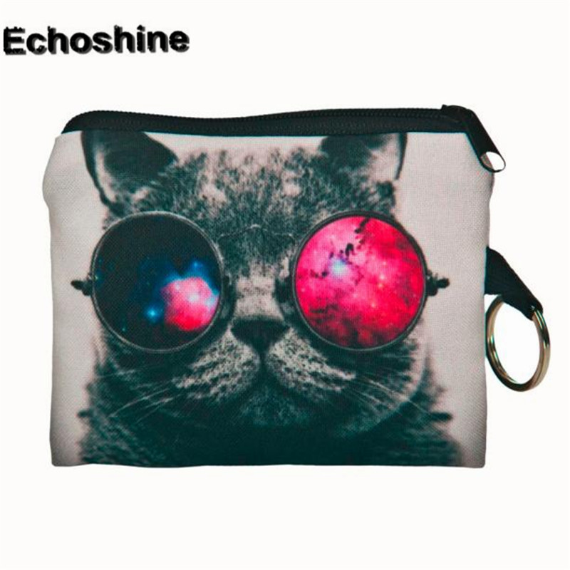 2016 fashion and new brand Girl printing full of personality coins change purse Clutch zipper zero wallet phone key bags gift