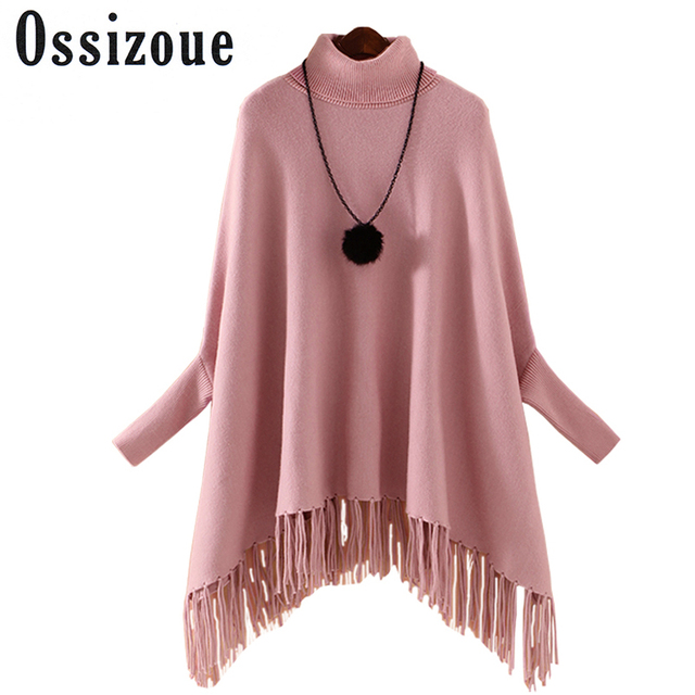 2017 New Tassels Women Sweater Nylon Autumn/Winter Casual Turtleneck Poncho Batwing Long Sleeve Solid Female Sweaters Lady Cloth