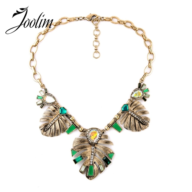 JOOLIM Jewelry Wholesale/  Green leaf statement Necklace Collar Necklace Fashion Jewelry  Style free shipping
