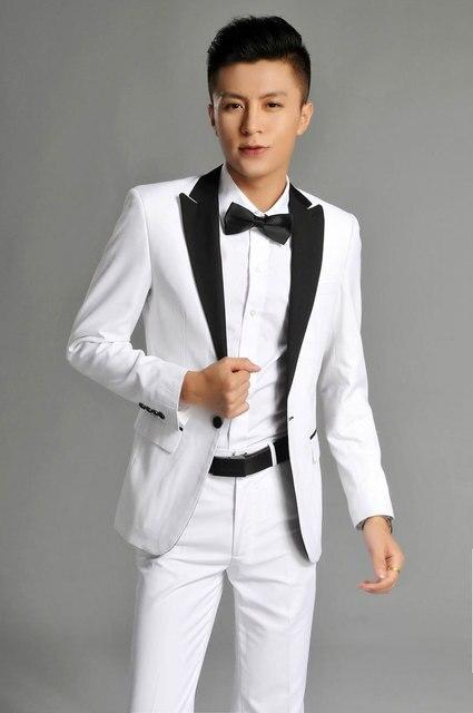 Custom Made White Tuxedo Jacket Black Shawl Lapel PantsBespoke Groom Tuxedos Wedding