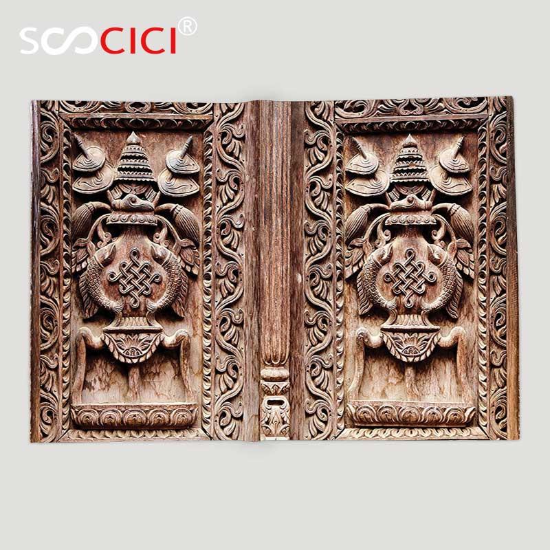 Custom Soft Fleece Throw Blanket Rustic Decor Wooden Carved Door Detail Kathmandu Indian Mystic Artful Sculpture Cultural Facade
