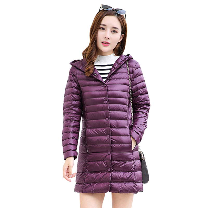 Women Down Coat 2018 New Winter Ultra Light Portable Hooded Down Jackets Single Breasted Slim Womens Long Jacket Chaqueta Mujer
