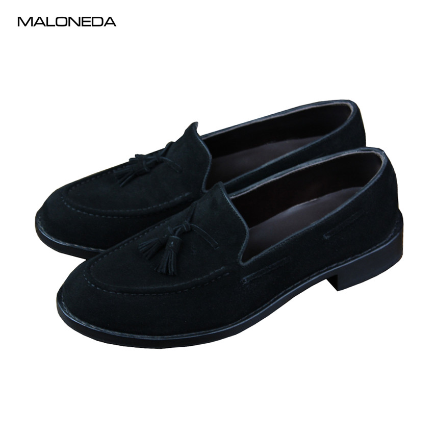 f84ca7fb21c9 MALONEDA Bespoke New Casual Handmade Taseels Men Loafers Genuine Cow Suede  Leather Slip on Shoes With