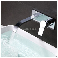 Contemporary Chrome Finish Single Handle Wall Mount Widespread Bathroom Sink Faucet Cubas Para Banheiro Chrome