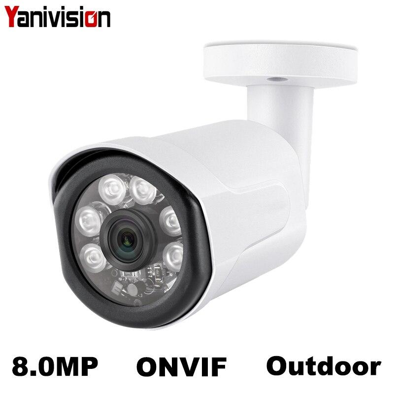 H.265 4K 8MP Bala Câmera IP POE Ao Ar Livre Câmera De Vídeo De Segurança de Vigilância IP Noite IR Visão Detecção de Movimento Recorde 5MP 2MP