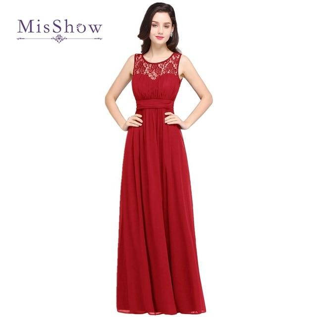 5837c2547 MisShow 4 Colores Simple Beach Vestidos de dama de Honor 2017 de La Gasa  Larga Formal
