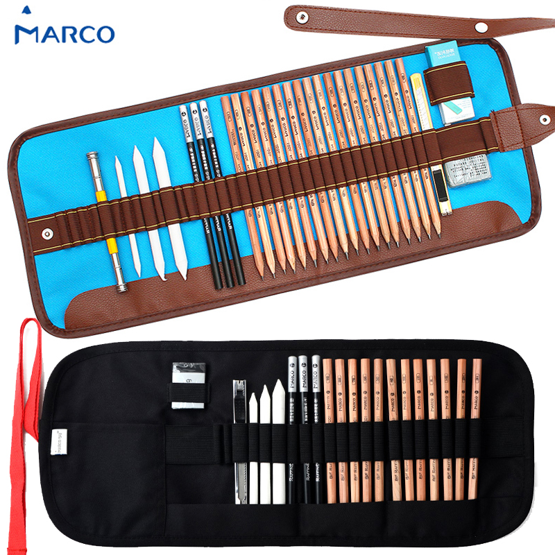 18pcs marco art drawing Graphite Charcoal sketch pencils kit with paper erasable pens pencil extender knife eraser for Beginners mg chenguang 18pcs color pencil