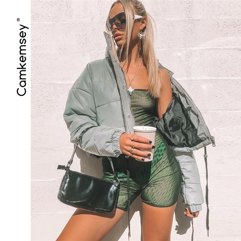 CamKemsey Winter Coat Women Parkas 2018 Streetwear Night Reflective Thick Warm Down Cotton Padded Short Bomber