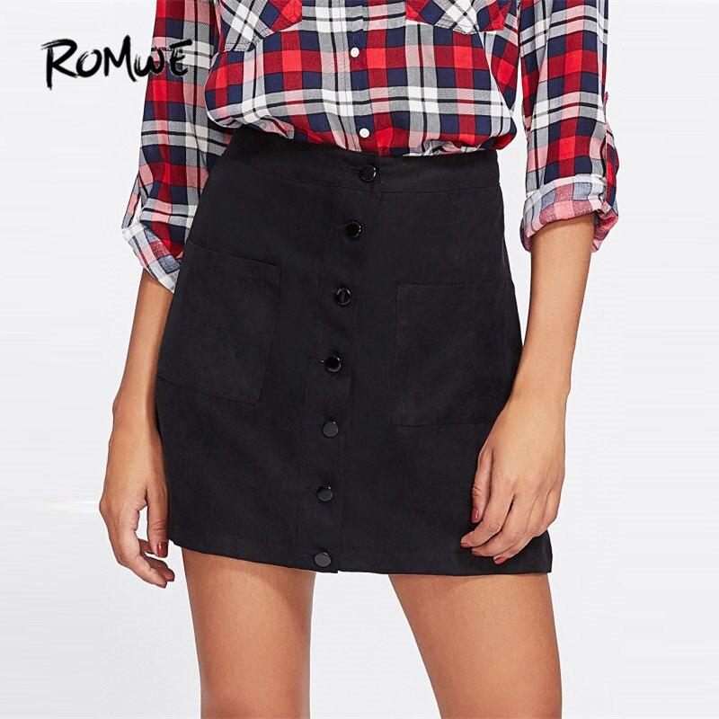 ROMWE Patch Pocket Front Button Up Skirt 2017 New Black Mid Waist Shift Female Skirt Women Clothing Casual Short Skirt