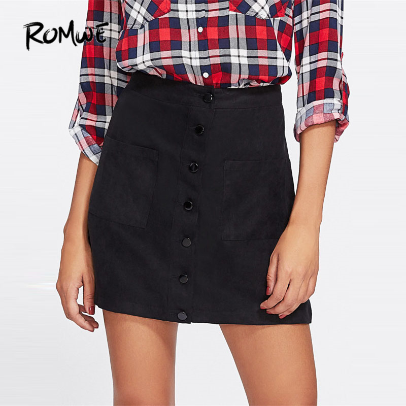 ROMWE Patch Pocket Front Button Up Skirt 2019 New Black Mid Waist Shift Female Skirt Women Clothing Casual Short Skirt