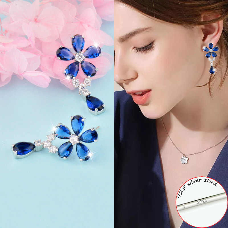 SINLEERY Luxury Shining Blue/White/Pink Crystal Flower Waterdrop Earrings Bridal Wedding Jewelry For Women ES034 SSC