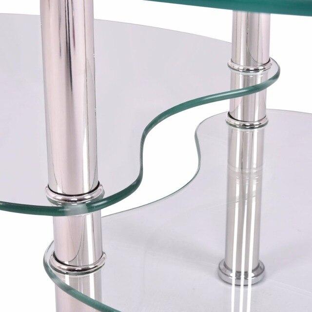 Goplus Tempered Glass Oval Side Coffee Table Shelf Chrome Base Living Room Clear Black Modern Coffee Table HW54317 5