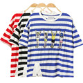 2017 Women Summer Style Harajuku Dance Little People Embroidery Stripe T Shirts Kawaii Short Sleeve Casual Tee Ladies Cute Tops