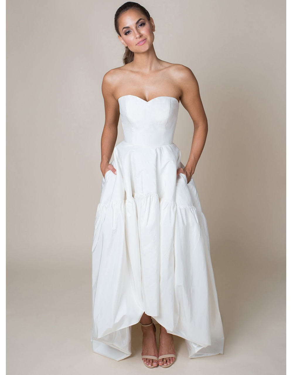 high low wedding dresses Style Embroidered Lace High Low Bridal Gown Justin Alexander Signature
