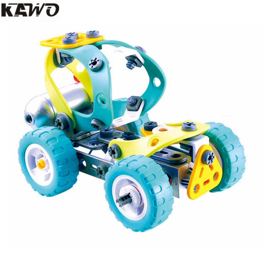 KAWO Original 10 IN 1 DIY 3D Puzzle Electric Building Blocks Disassemble the Assembly of Software Nuts Creative Toy for Kids eighteen disciples of the buddha children puzzle toy building blocks