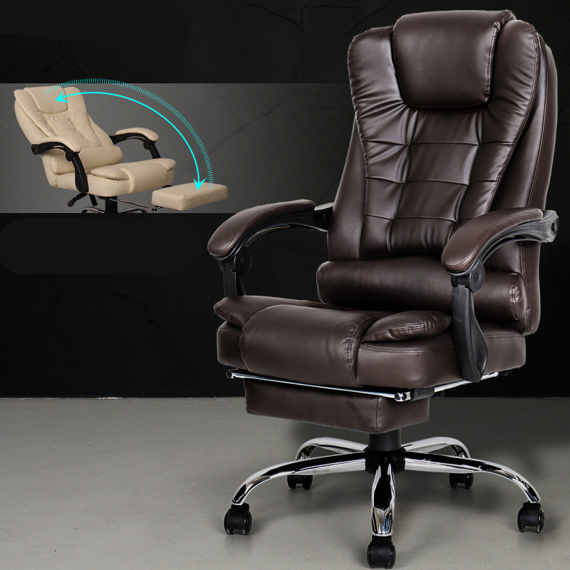 Delightful Reclining Adjustable Boss Office Armchair Fashion PU Computer Leisure Chair  Explosion Proof Swivel Chair Seat With Footrest In Office Chairs From  Furniture ...