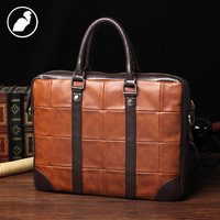 PUNKLADY New 2016 Men Famous Brands Italian Leather Zipper Plaid Multi Functional Handbags Laptop Briefcase Luxury