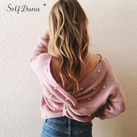 Self Duna 2019 Autumn Winter Backless Sweater Loose Knitted Pullover Soft Knitting Jumper Pearl Pink Women Knitted Sweater