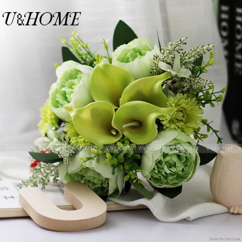 Artificial DIY bride bouquet silk green peony berries callas eucalyptus for home wedding <font><b>flower</b></font> diy decoration bulk high quality