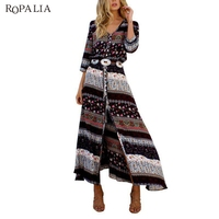 Retrol Bohemian Style Dress Women Maxi Long Dress Floral Print Hippie Vestidos Chic Brand Clothing Boho