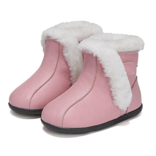 half off b736b 158e5 Winter Kinder Mode Stiefel Aus Echtem Leder Ankle Mädchen Prinzessin Schuhe  Anti Slip Plüsch Flache Baby Kleinkind Turnschuhe