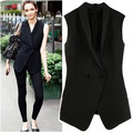 2016 Autumn New Fashion Chiffon Collar Waistcoat Black Color Two Buttons Slim Thin Vest Waistcoat Wild Outerwear Wholesale